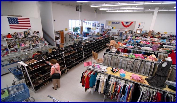 ABQ Family Thrift Center woman shopping shoe rack